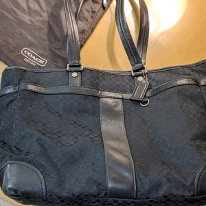 Black fabric Coach laptop carrior